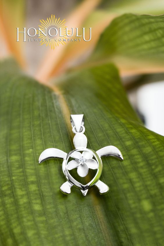 Sterling Silver Turtle Honu with Plumeria CZ Necklace Pendant with 18