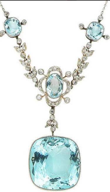 An aquamarine and diamond necklace, by Dior
