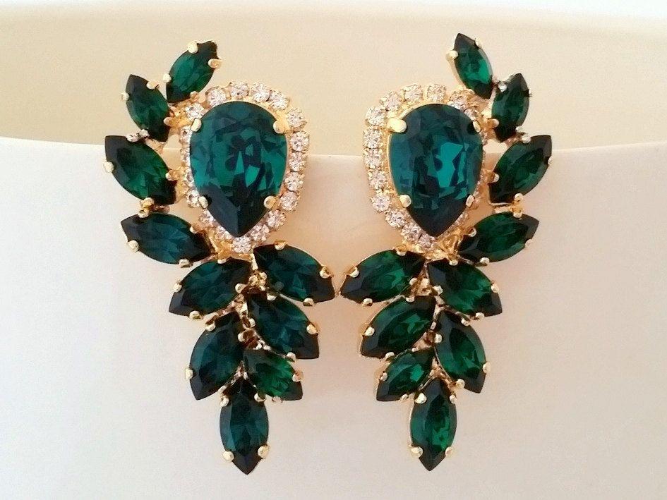 Emerald earrings,bridal earrings, Emerald bridal earrings,Vintage earrings,Large earring,cluster earrings,Swarovski earring,crystal earrring