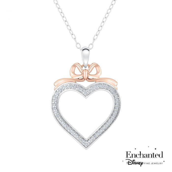 Enchanted Disney Fine Jewelry Snow White's Bow Diamond Heart Pendant 1/5ctw