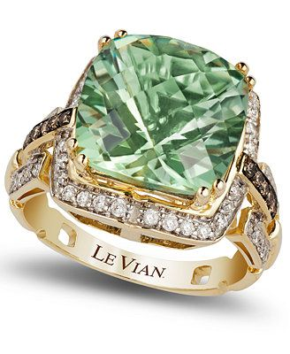 Le Vian Green Amethyst (6 ct. t.w.) and Diamond (1/4 ct. t.w.) Ring in 14k Gold & Reviews - Rings - Jewelry & Watches - Macy's