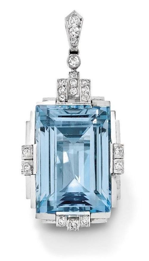 Light Blue Emerald Cut Vintage Art Deco Style Pendant 925 sterling silver Cz New