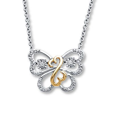 Open Hearts Necklace Diamond Accents Sterling Silver/10K Gold Kay