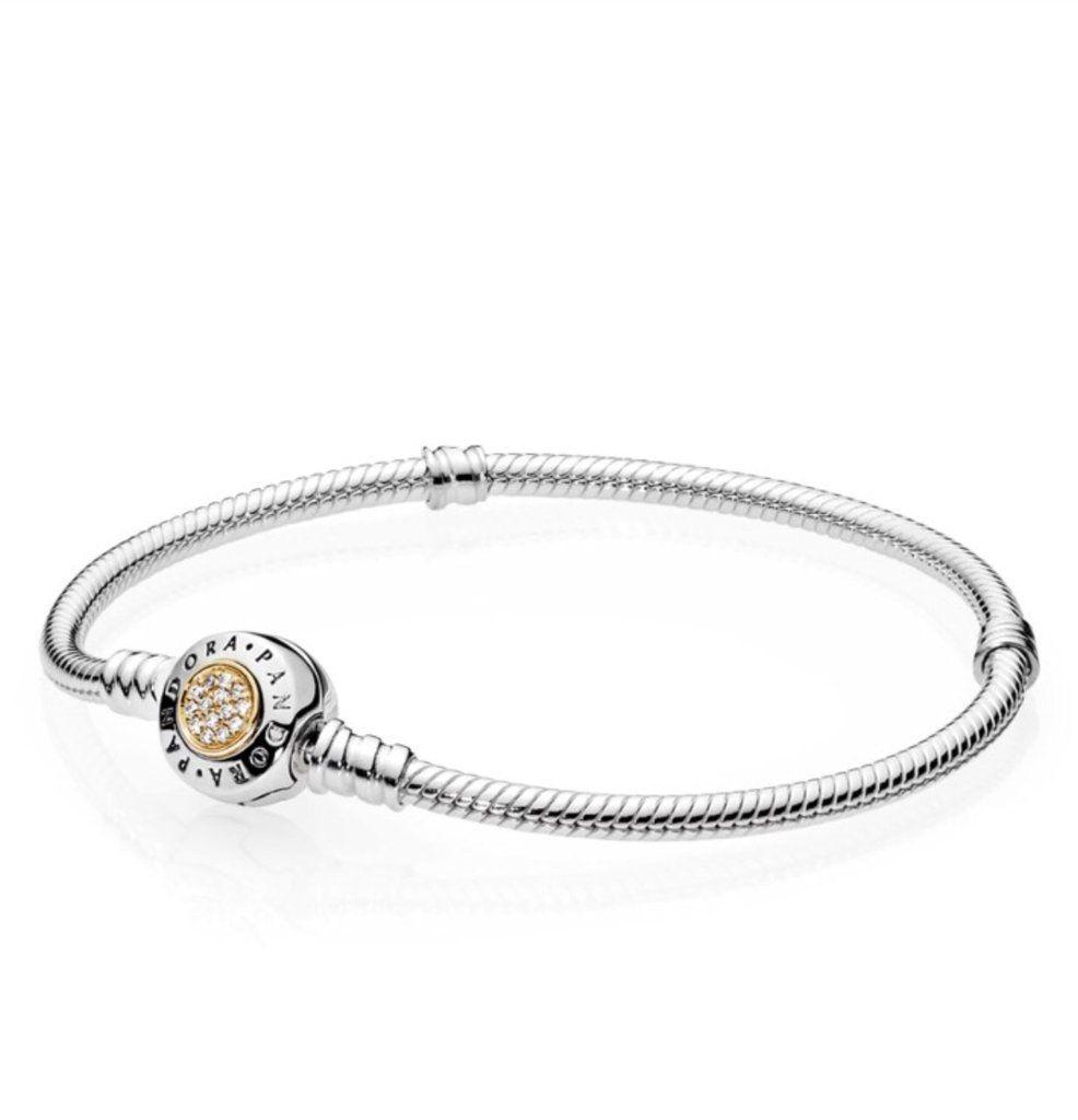 Authentic pandora bracelet with golden center clasp #590741CZ