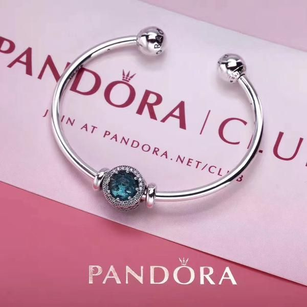 NEW PANDORA OPEN BANGLE BRACELET WITH BIRTHSTONE CHARM 11 COLORS AVAILABLE