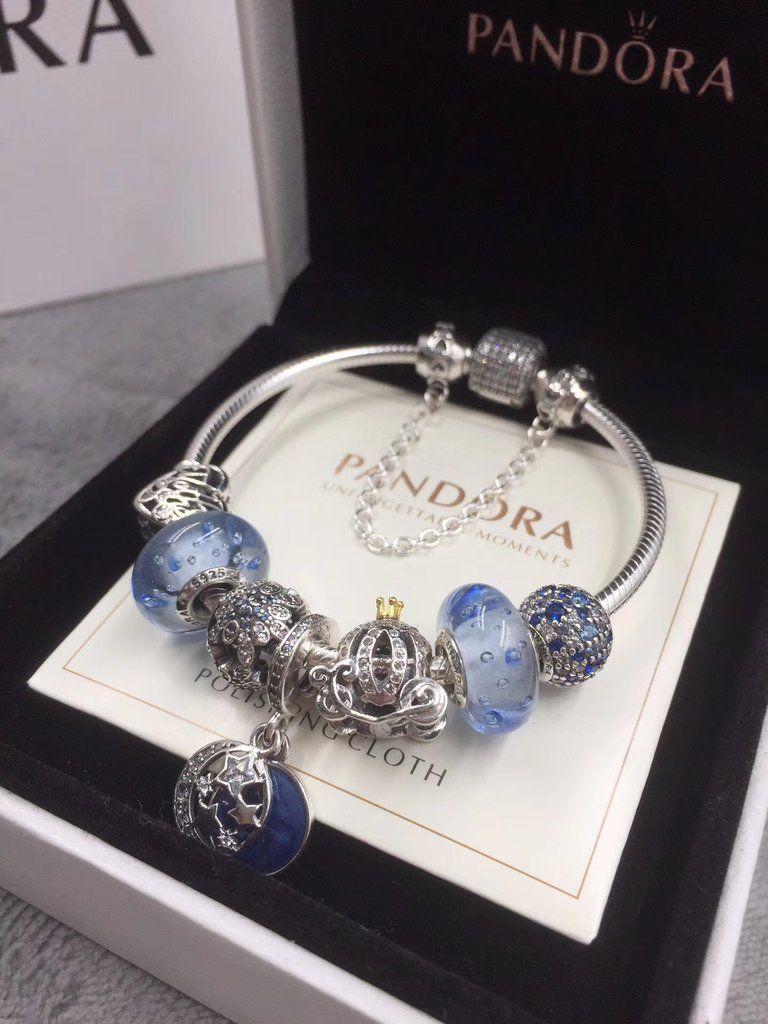 pandora sea theme blue charm bracelet ,star/moon pendant
