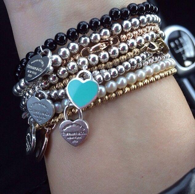 Stack of Tiffany & Co. bracelets? Yes please!