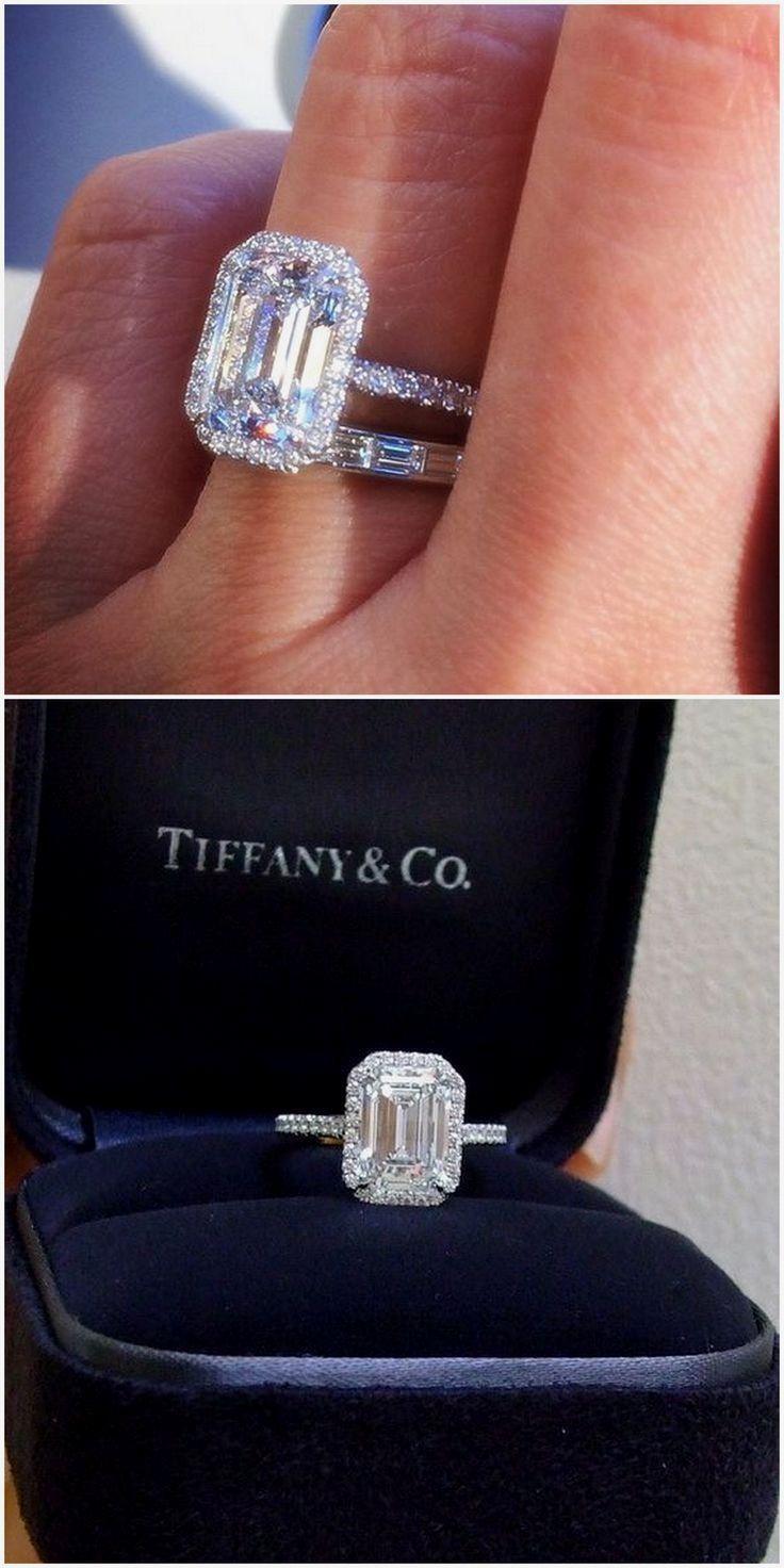 Tiffany & Co. 2.5 ct Soleste Emerald Cut Platinum Diamond Engagement Ring #diamo...