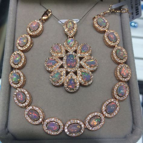 Beautiful opals surrounded by diamonds -- necklace and pendant