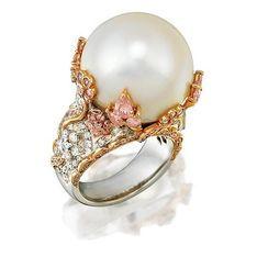 South Sea pearl, diamond and pink diamond ring, of bombe design…