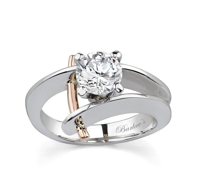 White & Rose Gold Solitaire Engagement Ring - 7159LW - Unique with a twist of dr...