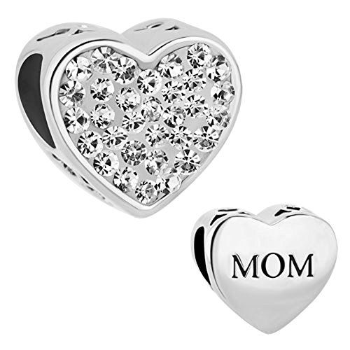 CharmsStory Sterling Silver Heart Mom I Love You Charms Clear Simulated Birthstone Beads Charm For Bracelet