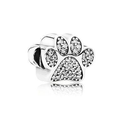 Paw Prints, Charm, Sterling Silver with Clear CZ