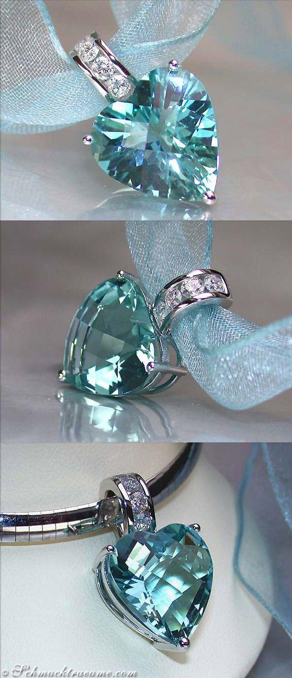 Grand Aquamarine Diamond Heart Pendant, 12,50 cts. WG-18K - LBV