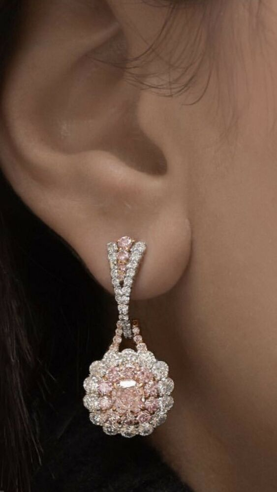 Classic pink white round 925 sterling silver &  cz handmade anniversary gift lon...