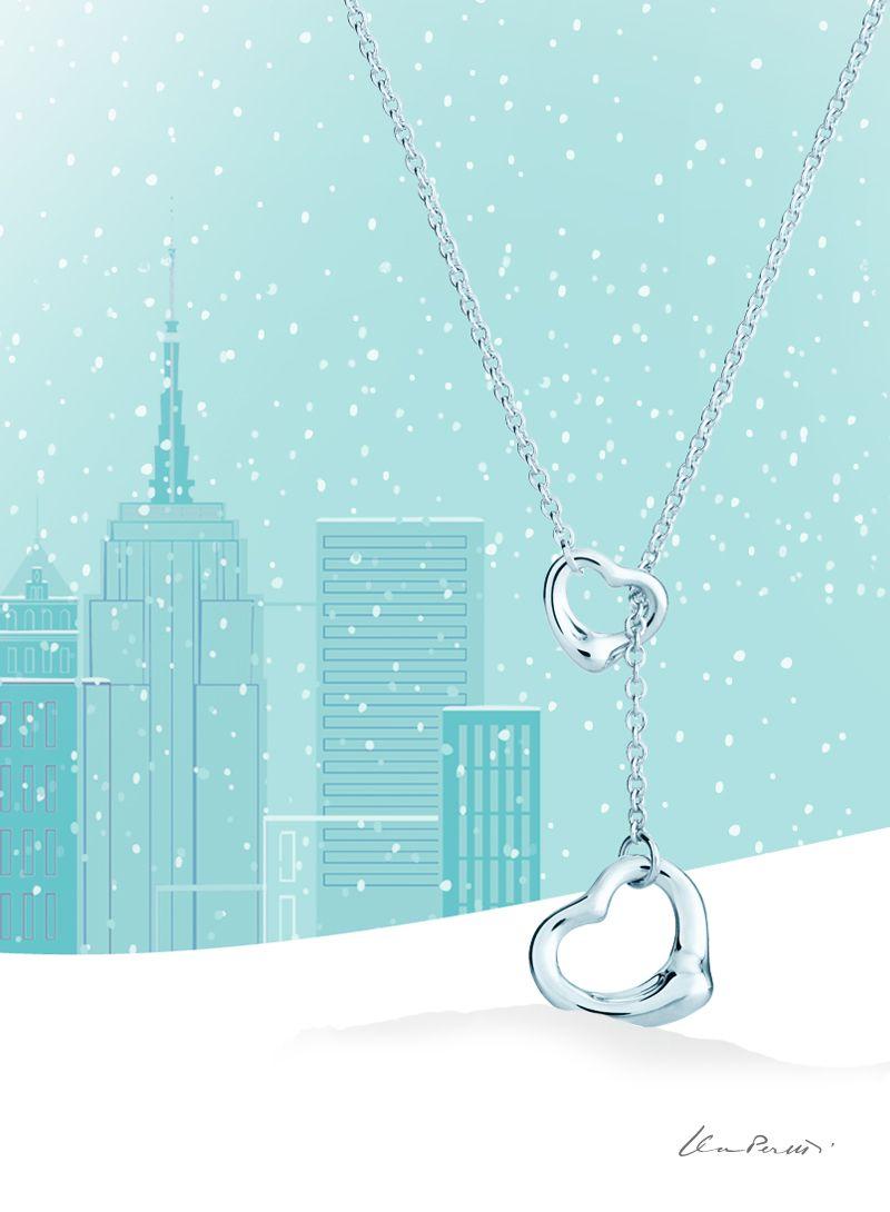 Elsa Peretti® Open Heart lariat in sterling silver.