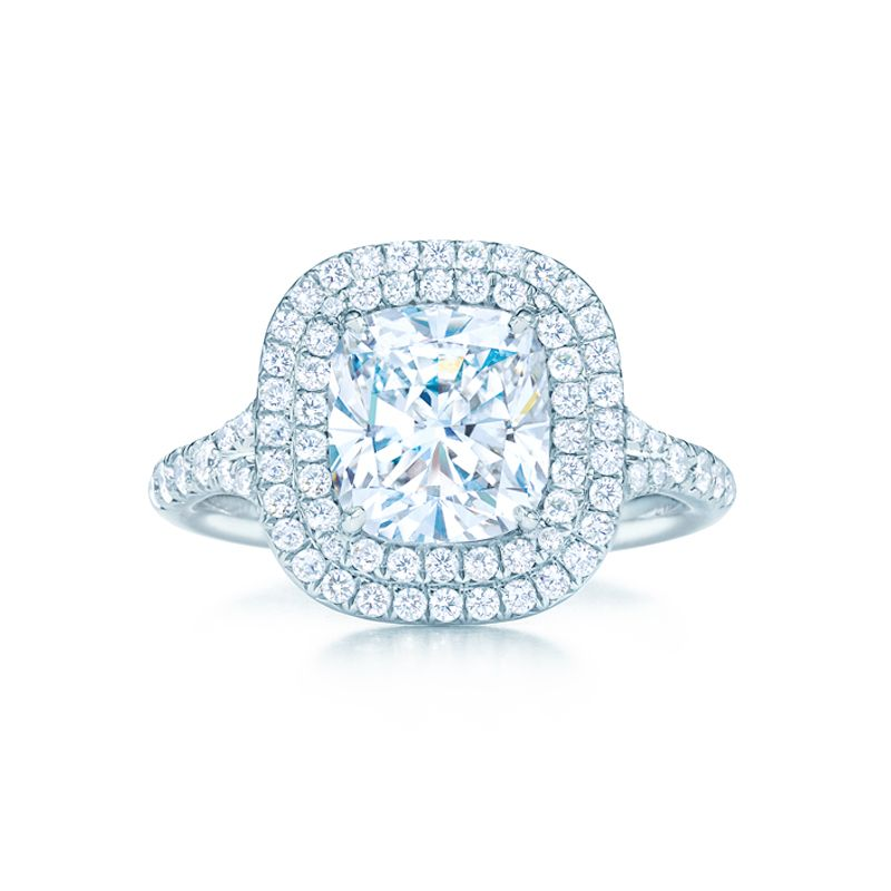 Tiffany & Co. -  Tiffany Soleste® Cushion Cut Double Halo Engagement Ring with Diamond Band in Platinum