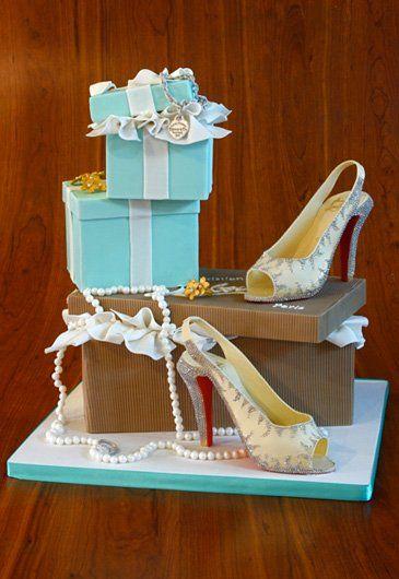 Amazing Tiffany box cake and Christian Louboutin Shoe Cake for your wedding or bridal shower