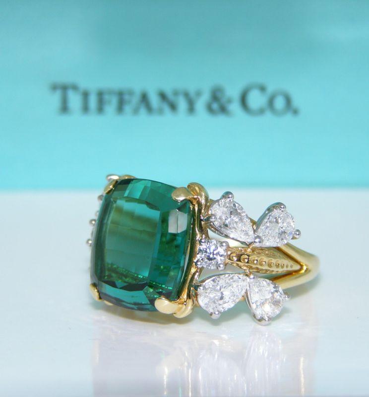 T&CO SCHLUMBERGER 12.36ct TOURMALINE & 8 DIAMOND RING  | eBay
